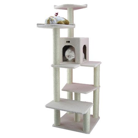 68 Classic Cat Tree in Ivory - Premium Cat Tree for Large Cats and Kittens, Cat Furniture Bundles with Scratching Post and Cat Condo, Cheap Cat Trees and Condos with 6 Months Warranty by Armarkat