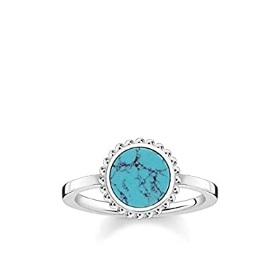 bef7b4d0d Thomas Sabo Women Ring Turquoise Stone 925 Sterling Silver TR2186-404-17:  Amazon.co.uk: Jewellery