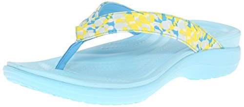 Croc Print Leather (crocs Women's Capri V Deco W Flip Flop, Ice Blue, 5 M US)