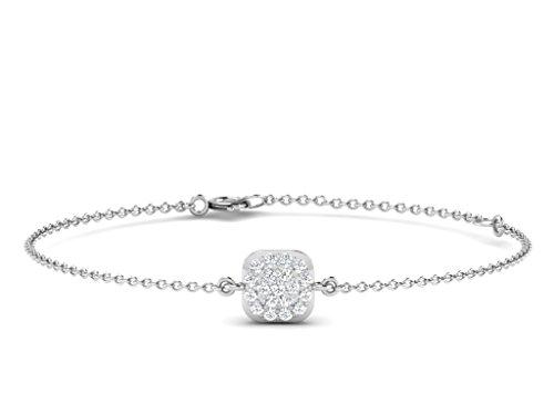Or Blanc 18 ct Bracelet Diamant en forme de carré, 0.1 Ct Diamant, GH-SI, 2.04 grammes.