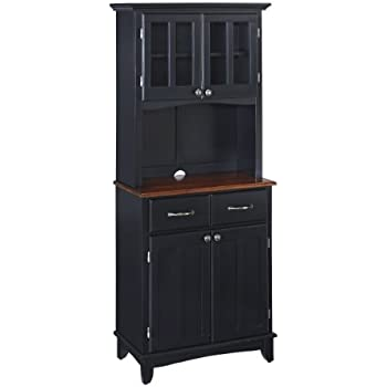 Home Styles 5001-0042-42 Buffet of Buffet 5001 Series medium cherry Wood Top Buffet and Hutch, Black, 29-1/4-Inch