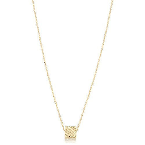 Kooljewelry 14k Gold Diamond-Cut Cube Necklace, 17 (Yellow Gold or Rose Gold)
