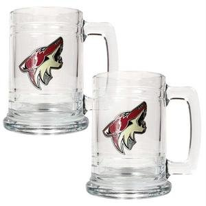 (NHL Phoenix Coyotes Two Piece 15-Ounce Glass Tankard Set- Primary Logo)