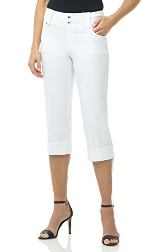 (Rekucci Women's Ease in to Comfort Fit Modern Classic Cuffed Capri (12SHORT,White))