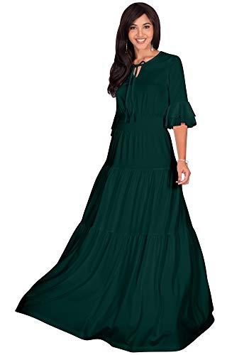 (KOH KOH Plus Size Womens Long Boho Bohemian Casual Vintage Solid Casual A-line 3/4 Sleeve Peasant Maternity Flowy Empire Waist Loose Floor Length Cute Maxi Dress Gown, Emerald Green XL 14-16)