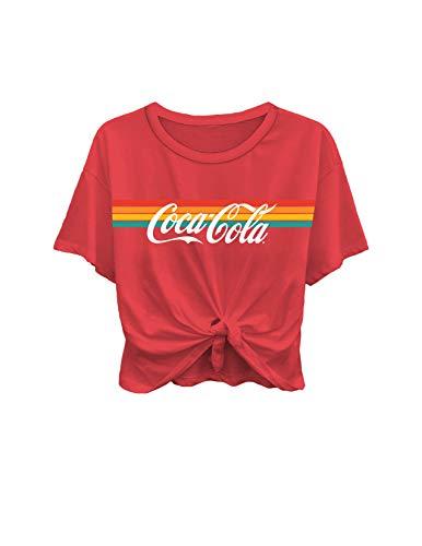 Ladies Coca Cola Fashion Shirt - Coke Classic Logo Tie Front Short Sleeve Tee (Red, -