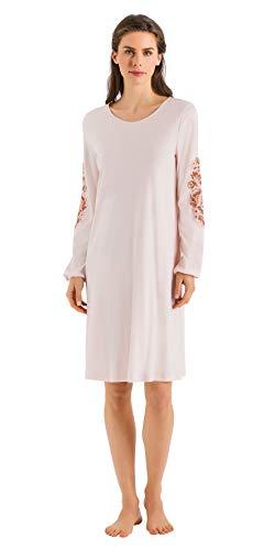 (HANRO Women's Jana Long Sleeve Gown 76432, Pearl Blush, Small)