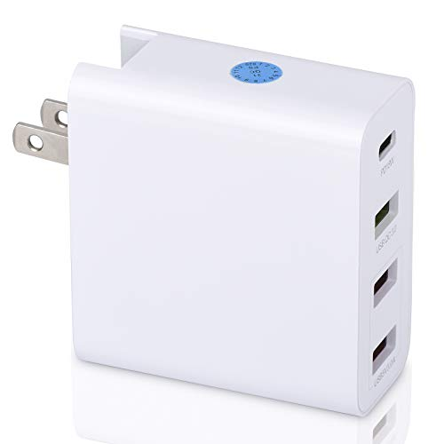 USB Wall Charger,51W 4 Port USB Charging Station Multiport Quick Charge 3.0 QC 3.0 and PD Speed Wall Charger for iPhone Xs/Max/XR/X/8/7/Plus, iPad Pro/Air 2/Mini/iPod, Galaxy S9/S8/S7/Edge/Plus,