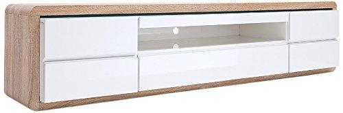 Tv board weiß eiche  Robas Lund 59061WS4 TV-Lowboard Frame, Hochglanz weiß, Außenrahmen ...