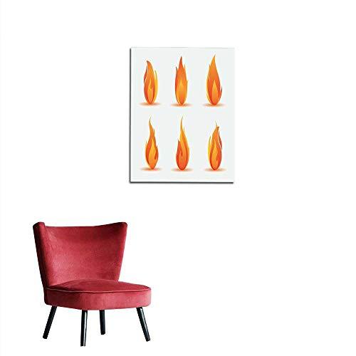 - longbuyer Wall Paper Flame Illustration Mural 32