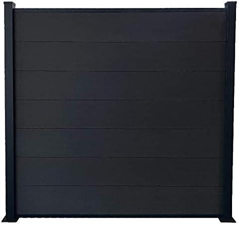 RED DECO - Kit de valla de jardín (paneles opacos, madera compuesta y aluminio, juego de base 1, 85 x 1, 94 m): Amazon.es: Jardín