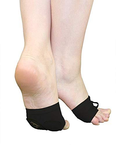 Women Lyrical Shoes Foot Thong Dance Paw Half Sole Foot Toe Undies(M) Black
