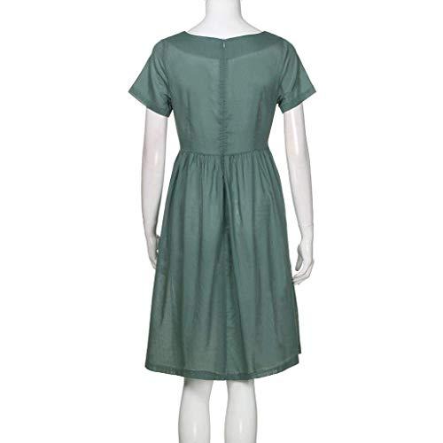 Couleur Femmes Poche Mode Cou Robe Plage Women Vert Solide Petite Manches Casual Boutons Taille Courtes O Dress Summer Armée Zhrui Vert Noire wnp8qtan