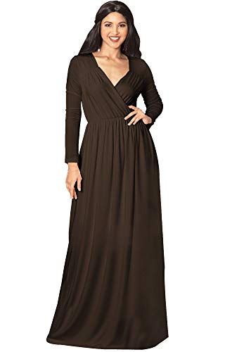 Jersey Sleeve Gown (KOH KOH Petite Women Long Sleeve Sleeves Empire Waist Floor-Length Cocktail Elegant Evening Fall Modest Winter Formal Abaya Cute Gown Gowns Maxi Dress Dresses, Dark Brown S 4-6 (1))