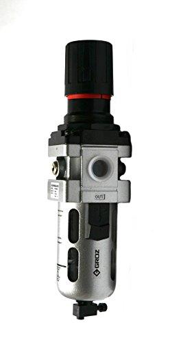 "Groz 60354 Air Filter - Regulator Combination, Polycarbonate Bowl, Standard- 1/2"" NPT, 106 CFM"