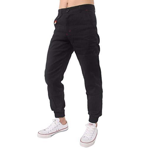 BoBoLily Pantalones Largos para Hombres Jeans Pantalones para Hombres Pantalones De Lino Pantalones De Lino Pantalones Deportivos para Hombres Sueltos Negro