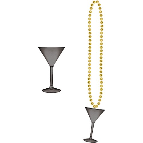 Beads w/Martini Glass (black & gold) Party Accessory  (1 count) (1/Card)