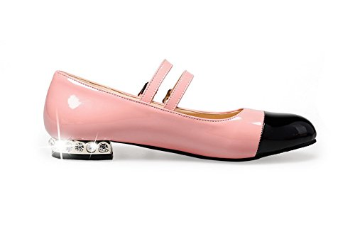 e324739c5a4ebb ... AllhqFashion Damen Schnalle Niedriger Absatz Blend-Materialien Gemischte  Farbe Rund Zehe Pumps Schuhe Pink ...
