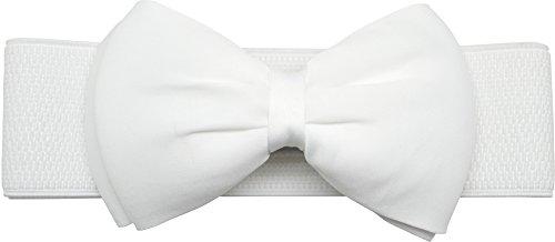 Meta-U Women Flower Elastic Wide Waist Belt (white bow)