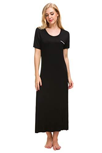 (M-anxiu Cotton Nightgown Women Full Length Loungewear Chemise (Black, Small))
