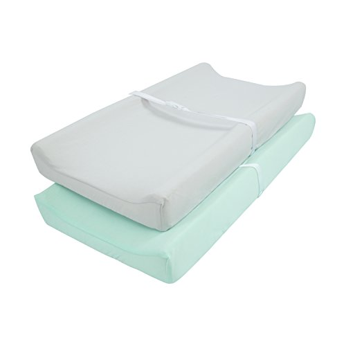 "TILLYOU Jersey Knit Ultra Soft Changing Pad Cover Set-Cradle Sheet Unisex Change Table Sheets for Baby Girls and Boys-Fit 32""/34"
