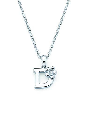 Little Diva Diamonds Sterling Silver Diamond Accent Initial Pendant Necklace- Letter D