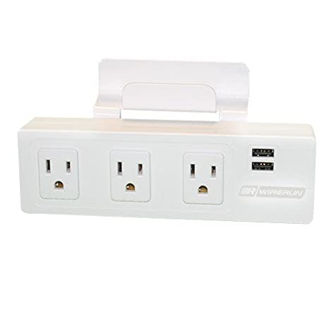 Manta Edge-Mount Desk Outlet with 3 AC Power Outlets and 2 Charging USB Outlets