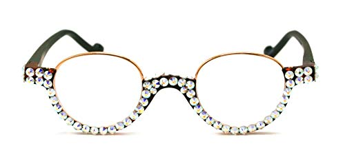 - The Bellagio, Round Women Bling Reading Glasses with Full Bottom AB (Borealis Aurora) Swarovski Crystals +1.50, 2.00, 2.50, 3.00 Circle, Gold Brown + Black Frame.