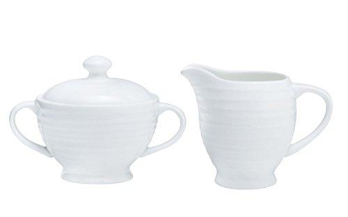 Mikasa Swirl White Covered Sugar Bowl and Creamer Set