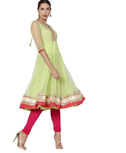 Lime Green Color Women's Angrakha Kurta