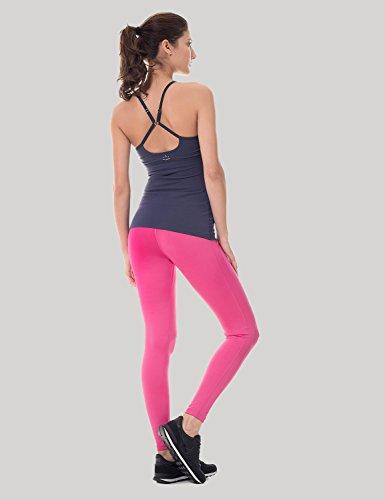 SYROKAN - Pantalones Largos Leggins Deportivos Running Para Mujer Magenta