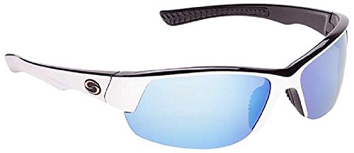 Strike Single - Strike King Optics Polarized SG Gulf Sunglasses, White/Black Frame/White/Blue Mirror Gray Base Lens
