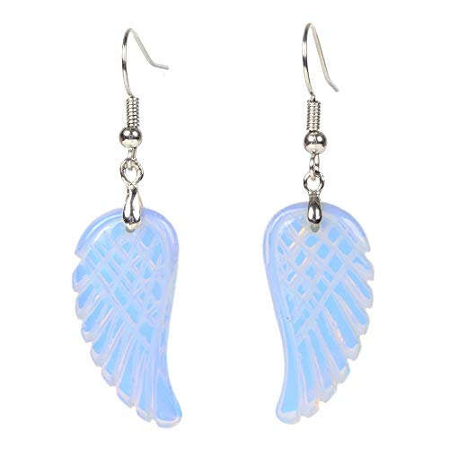 Synthetic Opalite Moonstone Gemstone Crystal Healing Reiki Chakra Handmade Angel Wing Dangle - Ring Moonstone Opalite