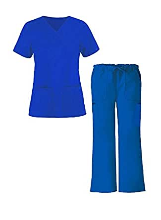 G Med Women's Mock Wrap Solid Scrub Top and Pant Sets(SET-MED,RYB-2XL)