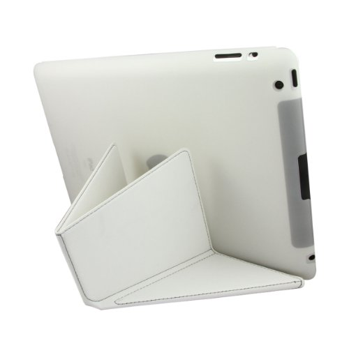 "Greenery*/ BXT® Colorful Transformer Slim Dual Trendy Multi-Viewing Portfolio Protection Smart Case Cover for Apple iPad 2,iPad 3&iPad 4 Generation, with Automatic Wake and Sleep function (""V"" Folded) (White)"