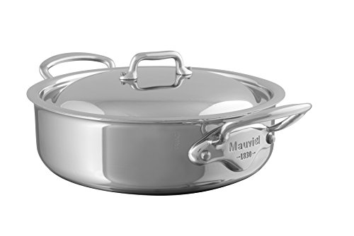 Mauviel Made In France M'Cook 5 Ply Stainless Steel 5230.29 5.8-Quart Rondeau with Lid, Cast Stainless Steel Handle