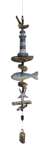 Cohasset Gifts 587WB Wind Lighthouse w/Fish & Star Cohasset Bell, Blue & White Distressed Finish -