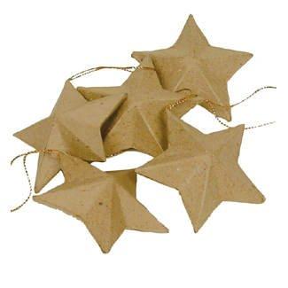 Pappmaché-Sterne, Größe: ca. 8cm, Beutel mit 5 Stk