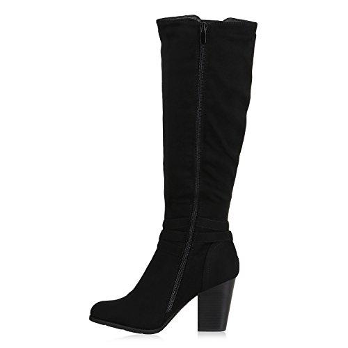 Stiefelparadies Klassische Damen Stiefel Leicht Gefütterte Boots Basic Leder-Optik Schuhe Damenstiefel Trichter Absatz Damenschuhe Booties Flandell Schwarz Schnallen Avelar