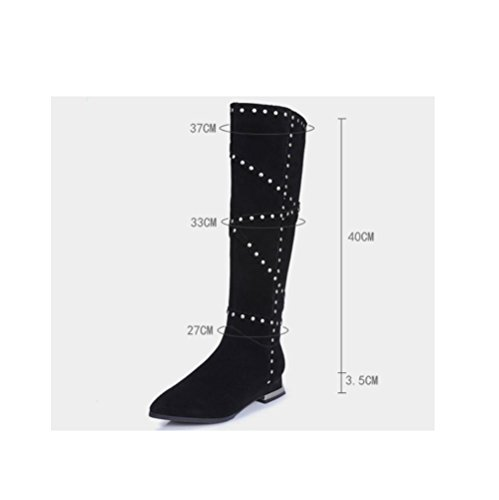 stivali bassa alti sopra cerniera tacchi 34 della temperamento donna pelle Martin Moda il di scrub ginocchio femminile Bootie lato qpOCIw4x