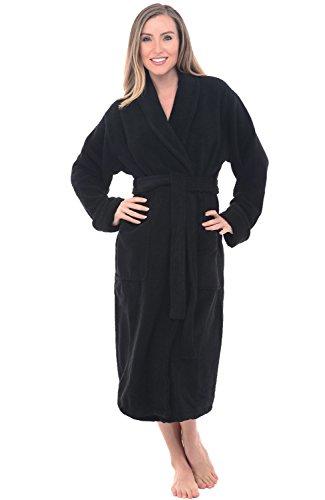 Alexander Del Rossa Womens Turkish Terry Cloth Robe, Thick Bathrobe, Large XL Black (A0106WBKXL)