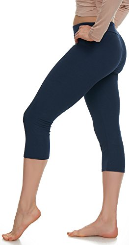 LMB Lush Moda Extra Soft Capri Leggings - Variety of Colors - Yoga Waist - Navy