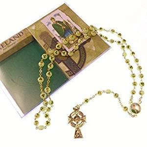 CBC Luminous St. Patrick Irish Glow in The Dark Shamrock Clover Rosary Beads ()