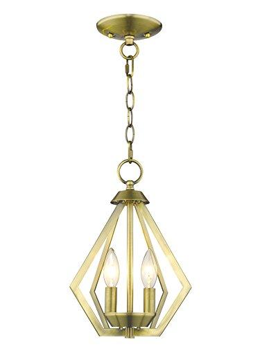 (Livex Lighting 40922-01 Prism 2 Light AB Mini Chandelier/Ceiling Mount, Antique Brass)