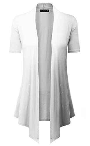 Short Arm Throw (URBAN K Women's Short, Long, & 3/4 Sleeve Open Front Drape Hem Lightweight Cardigan Regular & Plus Size)
