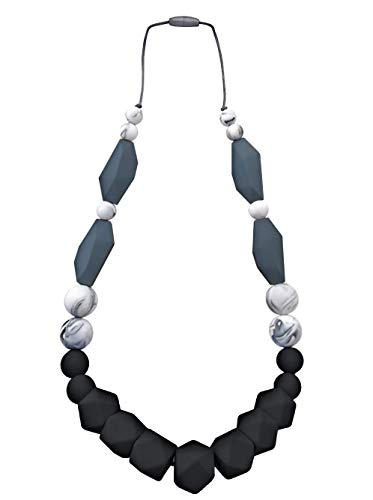 Baby Teething Necklace for Mom: Silicone Baby Teether Necklace for Teething Pain Relief In Babies & Toddlers| Sturdy & Stylish Chewable Necklace for Boys & Girls| Great Gift (Black/Marble/Grey/Marble)