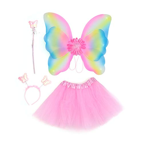 - LUOEM 4PCS Girls Butterfly Costume Set Glitter Double Layer Butterfly Wing Wand Headband Dress Girl Fairy Princess Kids Performance Stage Costume (Pink)