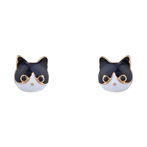 Pendant Head Cat - Lux Accessories Gold Tone Black White Kitty Cat Head Shaped Stud Earrings