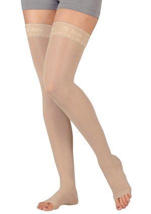 Juzo Basic Thigh High w/Silicone Dot Band 20-30mmHg Open Toe, III, beige