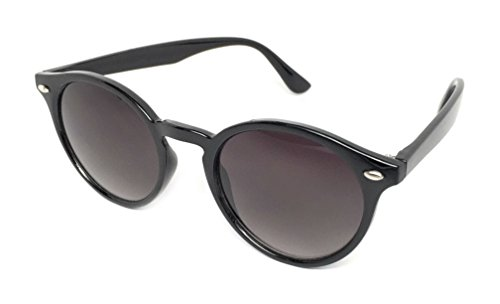 WebDeals - Round Horned Rimmed Retro Keyhole Sunglasses (Black, - Protection Means 100 Uv Sunglasses